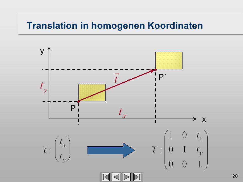 20 Translation in homogenen Koordinaten P´ P x y