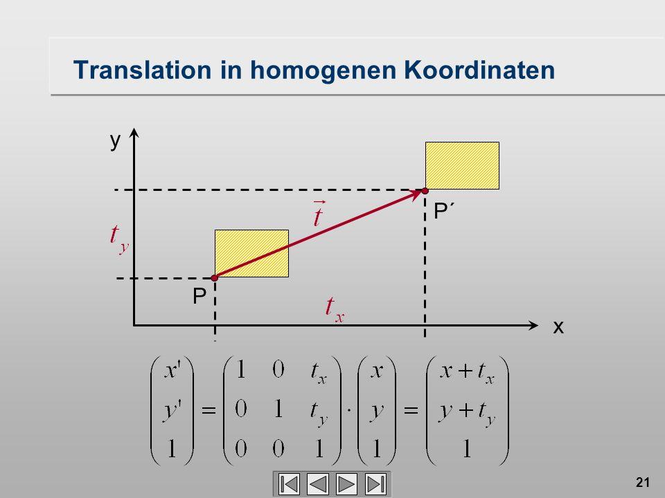 21 Translation in homogenen Koordinaten P´ P x y
