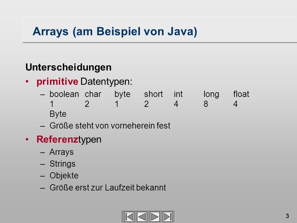 3 Arrays (am Beispiel von Java) Unterscheidungen primitive Datentypen: –booleancharbyteshortintlong float 1212484 Byte –Größe steht von vorneherein fe