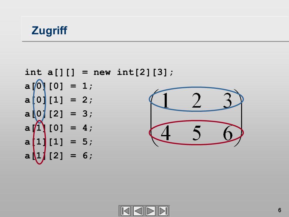 6 Zugriff int a[][] = new int[2][3]; a[0][0] = 1; a[0][1] = 2; a[0][2] = 3; a[1][0] = 4; a[1][1] = 5; a[1][2] = 6;