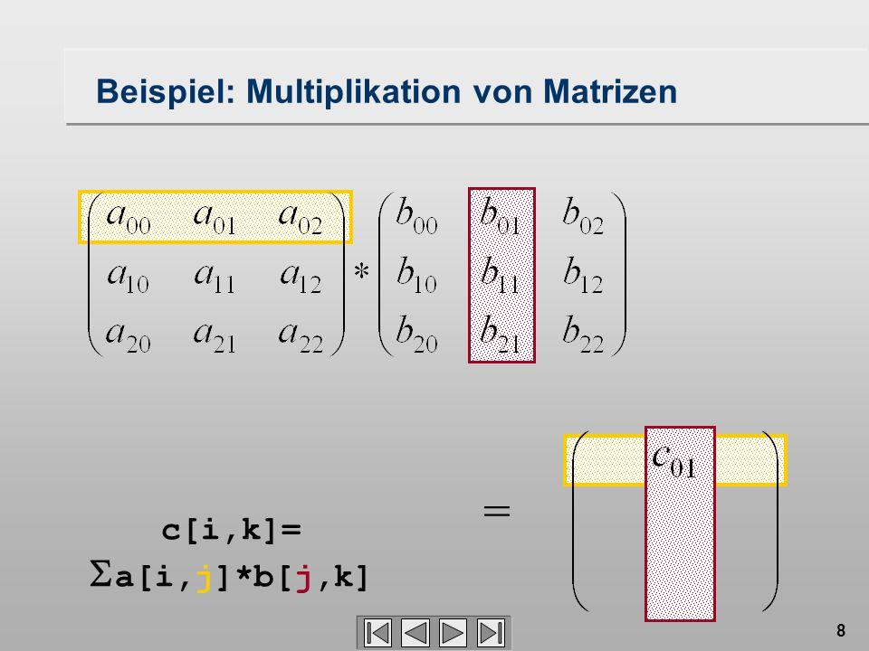 8 = c[i,k]= a[i,j]*b[j,k] Beispiel: Multiplikation von Matrizen