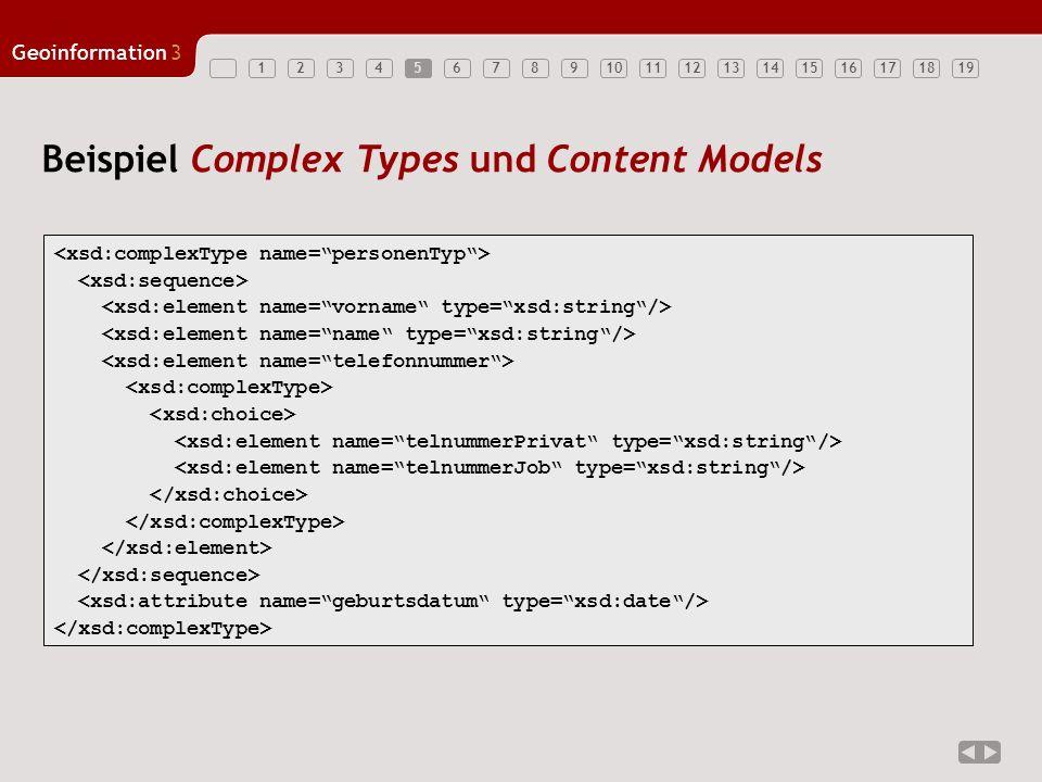 12345678910111213141516171819 Geoinformation3 5 Beispiel Complex Types und Content Models