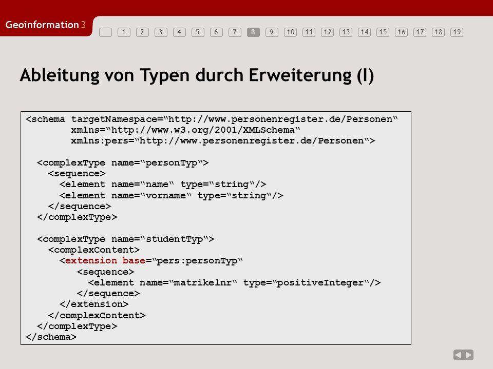 12345678910111213141516171819 Geoinformation3 8 Ableitung von Typen durch Erweiterung (I) <schema targetNamespace=http://www.personenregister.de/Perso