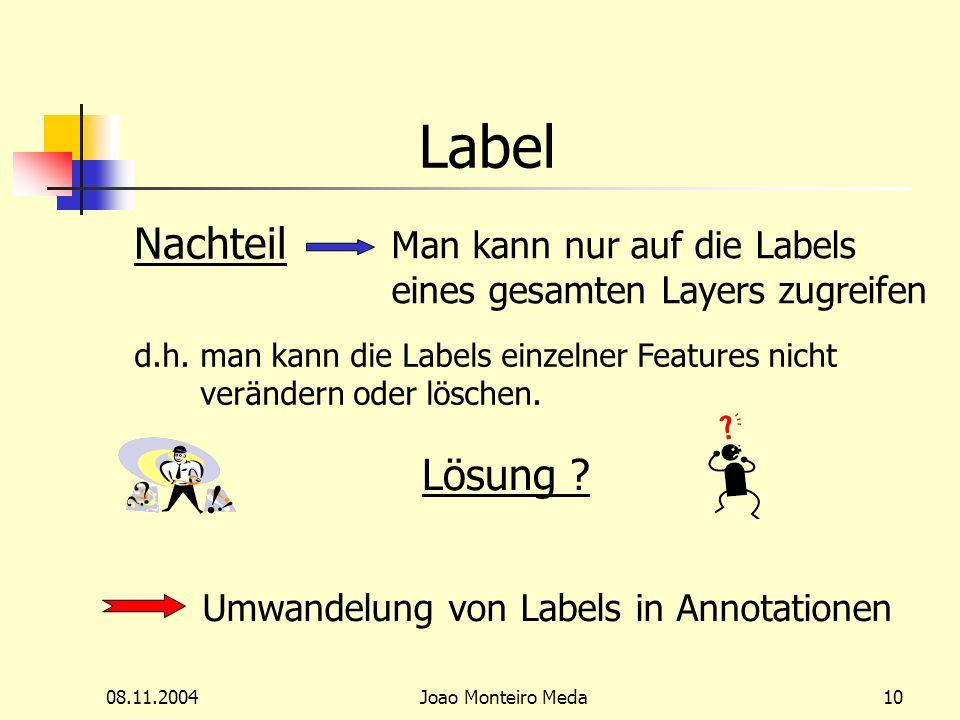 08.11.2004Joao Monteiro Meda10 Label Nachteil Man kann nur auf die Labels eines gesamten Layers zugreifen d.h.