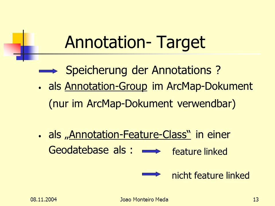 08.11.2004Joao Monteiro Meda13 Annotation- Target Speicherung der Annotations .