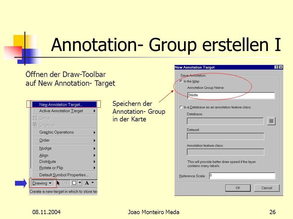 08.11.2004Joao Monteiro Meda26 Annotation- Group erstellen I Öffnen der Draw-Toolbar auf New Annotation- Target Speichern der Annotation- Group in der Karte