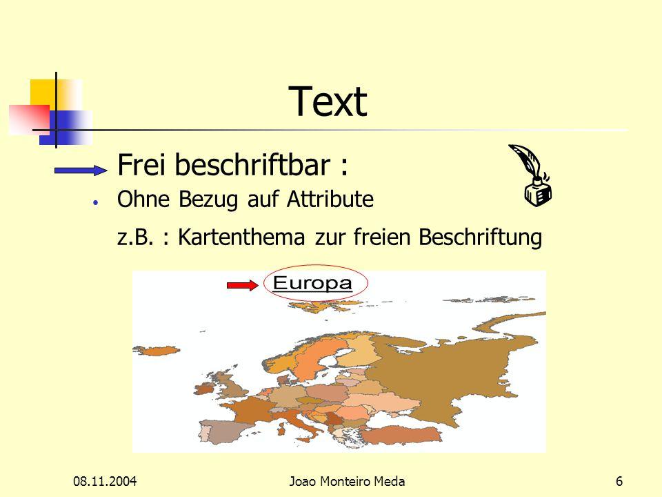 08.11.2004Joao Monteiro Meda6 Text Frei beschriftbar : Ohne Bezug auf Attribute z.B.