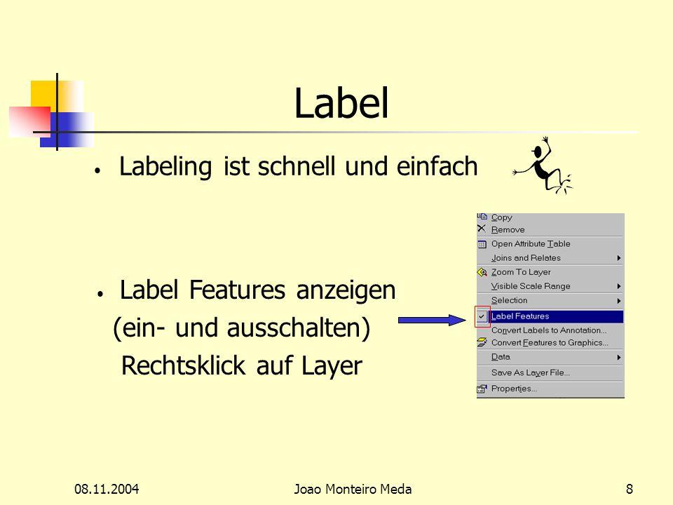08.11.2004Joao Monteiro Meda8 Label Labeling ist schnell und einfach Label Features anzeigen (ein- und ausschalten) Rechtsklick auf Layer