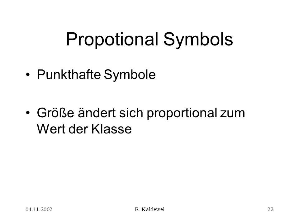 04.11.2002B. Kaldewei22 Propotional Symbols Punkthafte Symbole Größe ändert sich proportional zum Wert der Klasse