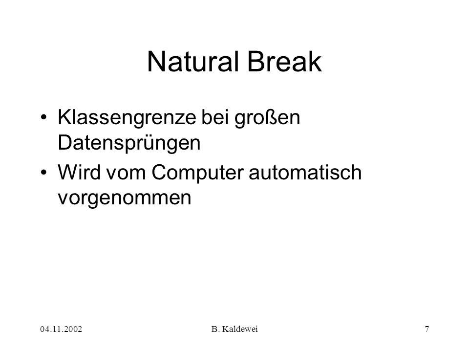 04.11.2002B. Kaldewei7 Klassengrenze bei großen Datensprüngen Wird vom Computer automatisch vorgenommen Natural Break