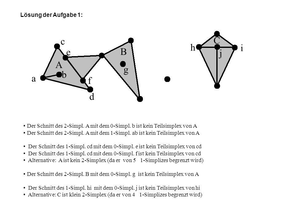 Lösung der Aufgabe 1: A B a b c d e f g h i j C Der Schnitt des 2-Simpl. A mit dem 0-Simpl. b ist kein Teilsimplex von A Der Schnitt des 2-Simpl. A mi