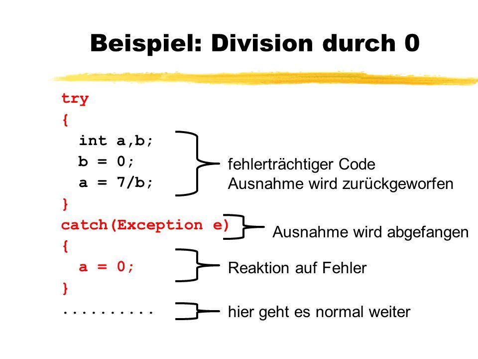 Hierarchie der Exceptions (Auszug) Throwable ErrorException IOExc.
