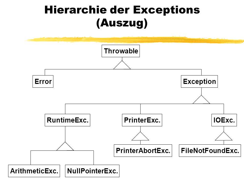 Wer verursacht Exceptions.Operatoren, z.B. / Explizit durch throw...