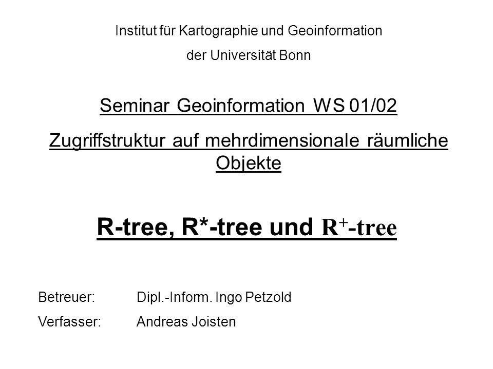 Inhaltsverzeichnis 1.Einleitung 2.Der R-tree 2.1Struktur und Eigenschaft des R-tree 2.2Algorithmen des R-tree 2.2.1Such 2.2.2Einfüge 2.2.3Spalt 2.2.4Lösch 3.R*-tree und R + -tree - Algorithmus