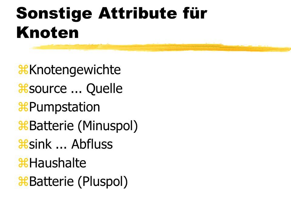 Verknüpfungsattribute für Knoten zVerteiler (1 to many) zDreier Stecker (bei Stromleitungen) zT-Stück (bei Wasserleitungen) zBogenstücke (1 to 1) zRed