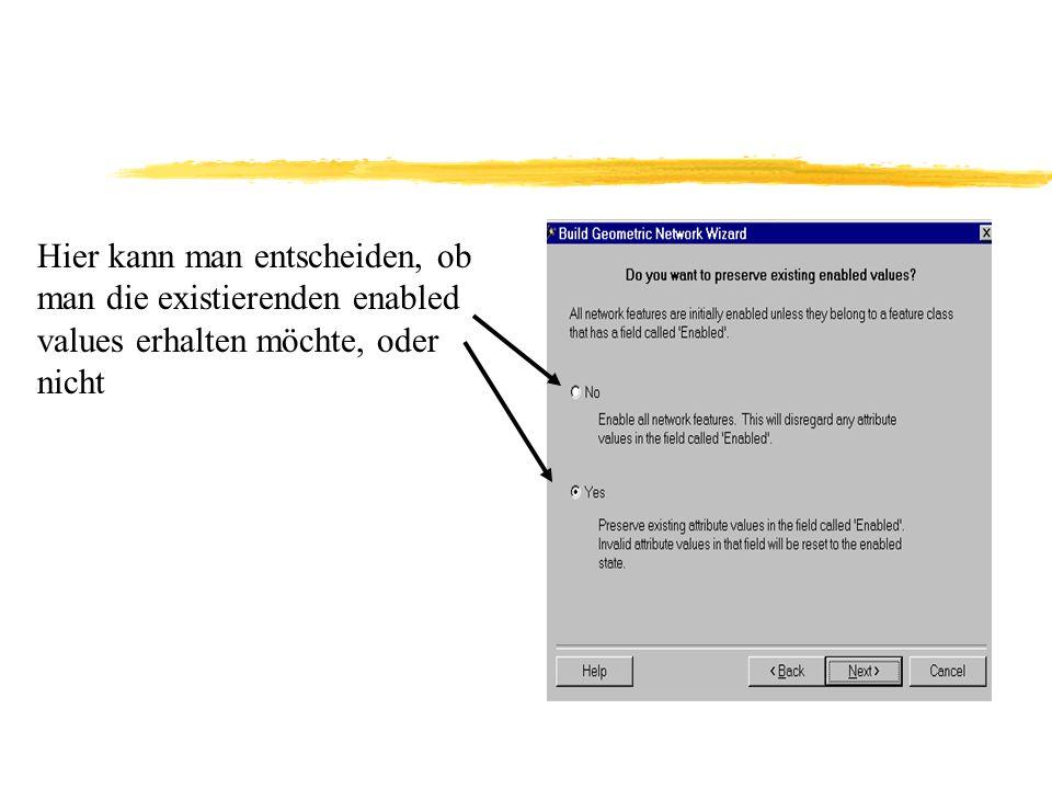 Bei dem folgenden Fenster kann man dann die gewünschten Objektklassen auswählen Und man kann einen Netzwerknamen aussuchen