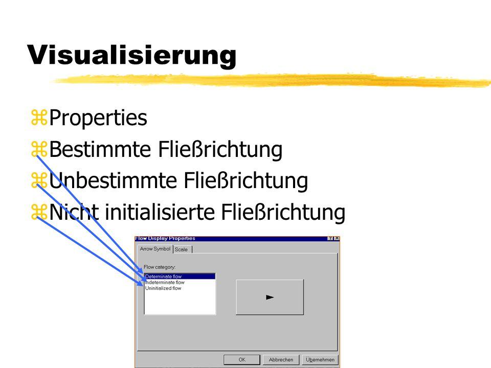 Visualisierung zNetzwerkauswahl (Wasserversorgung) zFlow (Display Arrows zeigen Fließrichtungspfeile an.)
