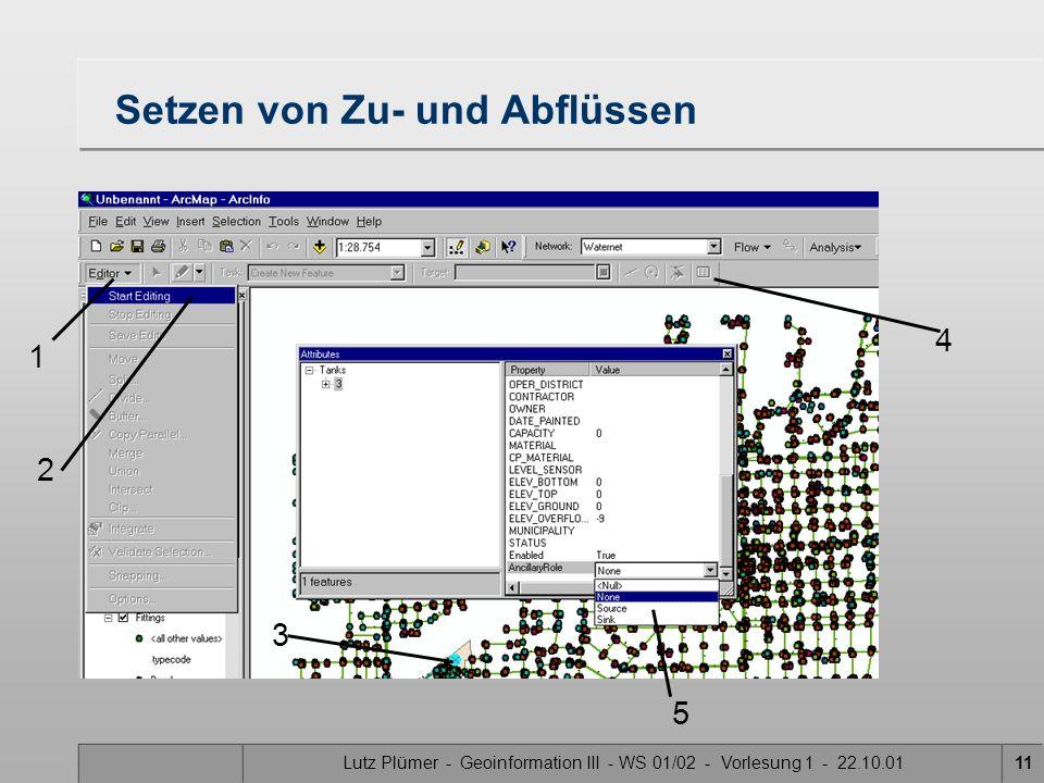 Lutz Plümer - Geoinformation III - WS 01/02 - Vorlesung 1 - 22.10.0110 Ancillary: 1 heißt Zufluß (source) Ancillary: 2 heißt Abfluß(sink) Ancillary: 0