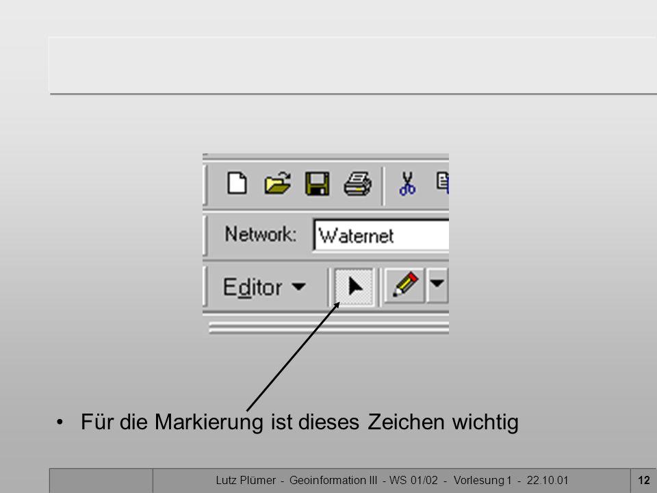 Lutz Plümer - Geoinformation III - WS 01/02 - Vorlesung 1 - 22.10.0111 Setzen von Zu- und Abflüssen 2 1 4 5 3