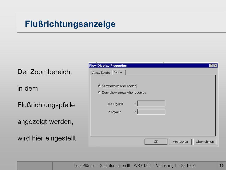 Lutz Plümer - Geoinformation III - WS 01/02 - Vorlesung 1 - 22.10.0118 Flußsymbole Flußart Zeichen Größe Kippwinkel Farbe