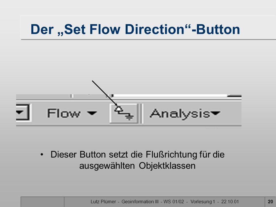 Lutz Plümer - Geoinformation III - WS 01/02 - Vorlesung 1 - 22.10.0119 Flußrichtungsanzeige Der Zoombereich, in dem Flußrichtungspfeile angezeigt werd