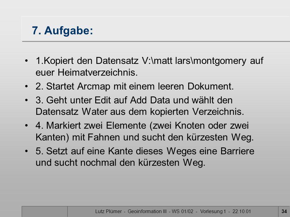Lutz Plümer - Geoinformation III - WS 01/02 - Vorlesung 1 - 22.10.0133 Nun wird der kürzeste Weg angezeigt