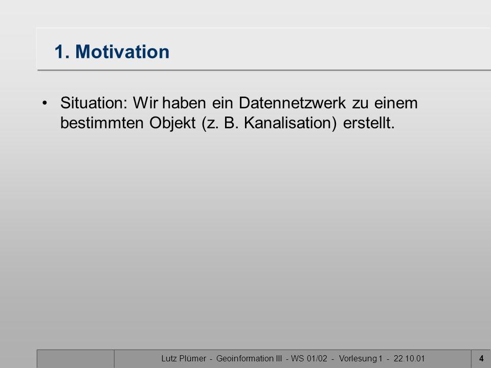 Lutz Plümer - Geoinformation III - WS 01/02 - Vorlesung 1 - 22.10.013 Gliederung: 1. Motivation 2. Aktivieren / Deaktivieren (enable/disable) 3. Zuflü