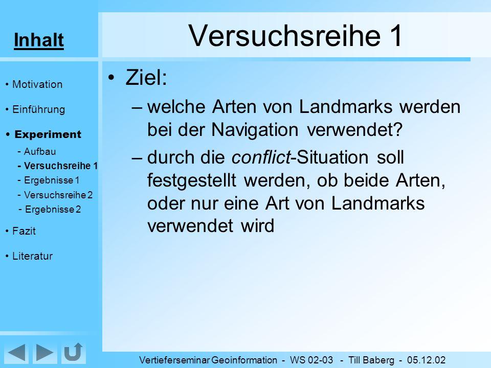 Inhalt Vertieferseminar Geoinformation - WS 02-03 - Till Baberg - 05.12.02 Versuchsreihe 1 Ziel: –welche Arten von Landmarks werden bei der Navigation verwendet.