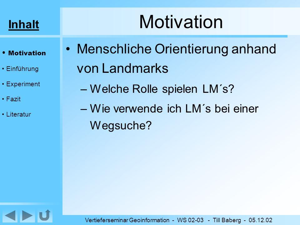 Inhalt Vertieferseminar Geoinformation - WS 02-03 - Till Baberg - 05.12.02 Fazit Strategie –abhängig von:- Ziel - Standpunkt –alle Strategien verwendet (Hypothesen) Wahrnehmung/Speicherung –Probanden: 1.
