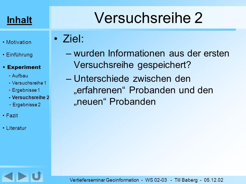 Inhalt Vertieferseminar Geoinformation - WS 02-03 - Till Baberg - 05.12.02 Versuchsreihe 2 Ziel: –wurden Informationen aus der ersten Versuchsreihe gespeichert.