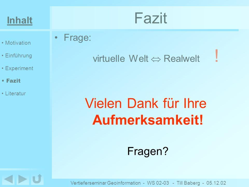 Inhalt Vertieferseminar Geoinformation - WS 02-03 - Till Baberg - 05.12.02 Fazit Frage: virtuelle Welt Realwelt .