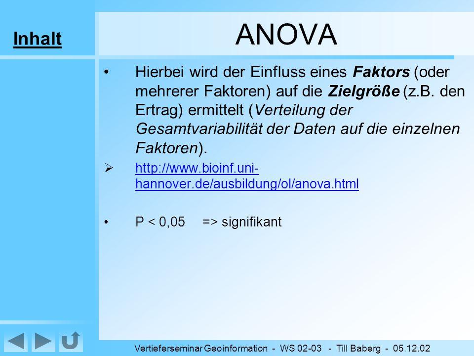 Inhalt Vertieferseminar Geoinformation - WS 02-03 - Till Baberg - 05.12.02 ANOVA Hierbei wird der Einfluss eines Faktors (oder mehrerer Faktoren) auf die Zielgröße (z.B.