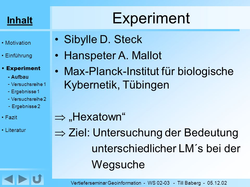 Inhalt Vertieferseminar Geoinformation - WS 02-03 - Till Baberg - 05.12.02 Literatur Artikel –Steck, Sibylle D.; Mallot, Hanspeter A.: The Role of Global and Local Landmarks in Virtual Environment Navigation –Sorrows, Molly E.; Hirtle, Stephen C.: The Nature of Landmarks for Real and Electronic Spaces –Ruddle, Roy A.; Payne, Stephen J.; Dylan, M.