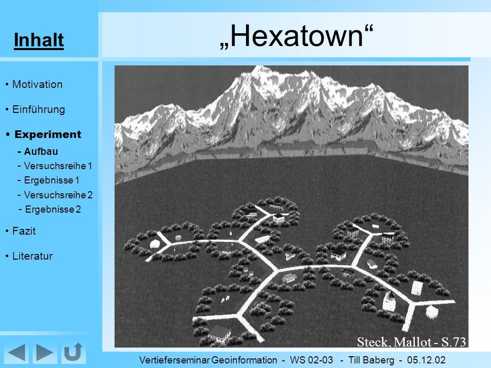 Inhalt Vertieferseminar Geoinformation - WS 02-03 - Till Baberg - 05.12.02 Hexatown virtuelle Umgebung (VE) Wabenstruktur (6-eckig) 120°-Winkel an jeder Kreuzung zum Abbiegen gezwungen Gleichförmigkeit bewaldet: keine weiten Sichten leicht gewölbte Oberfläche: nächste Kreuzung nicht sichtbar Motivation Einführung Experiment - Aufbau - Versuchsreihe 1 - Ergebnisse 1 - Versuchsreihe 2 - Ergebnisse 2 Fazit Literatur