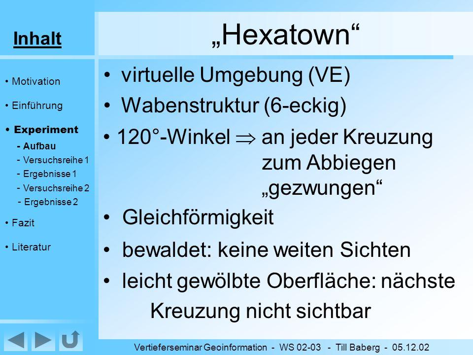 Inhalt Vertieferseminar Geoinformation - WS 02-03 - Till Baberg - 05.12.02 Hexatown Motivation Einführung Experiment - Aufbau - Versuchsreihe 1 - Ergebnisse 1 - Versuchsreihe 2 - Ergebnisse 2 Fazit Literatur