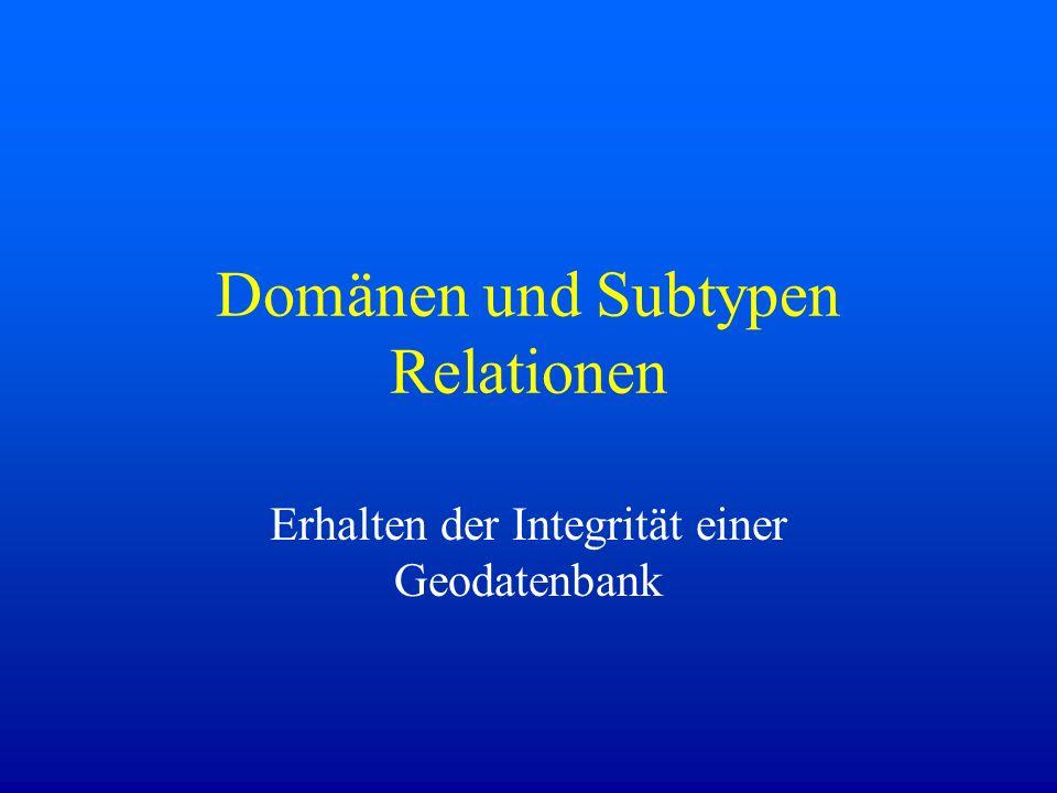 Domänen und Subtypen Relationen Erhalten der Integrität einer Geodatenbank