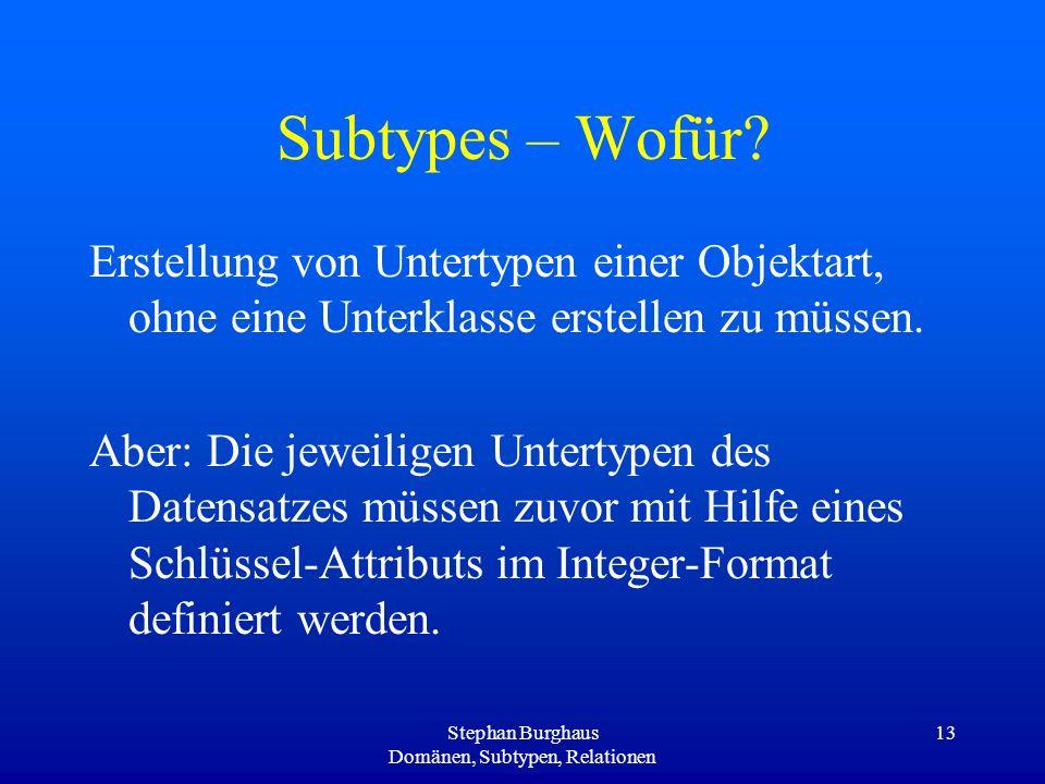 Stephan Burghaus Domänen, Subtypen, Relationen 13 Subtypes – Wofür? Erstellung von Untertypen einer Objektart, ohne eine Unterklasse erstellen zu müss