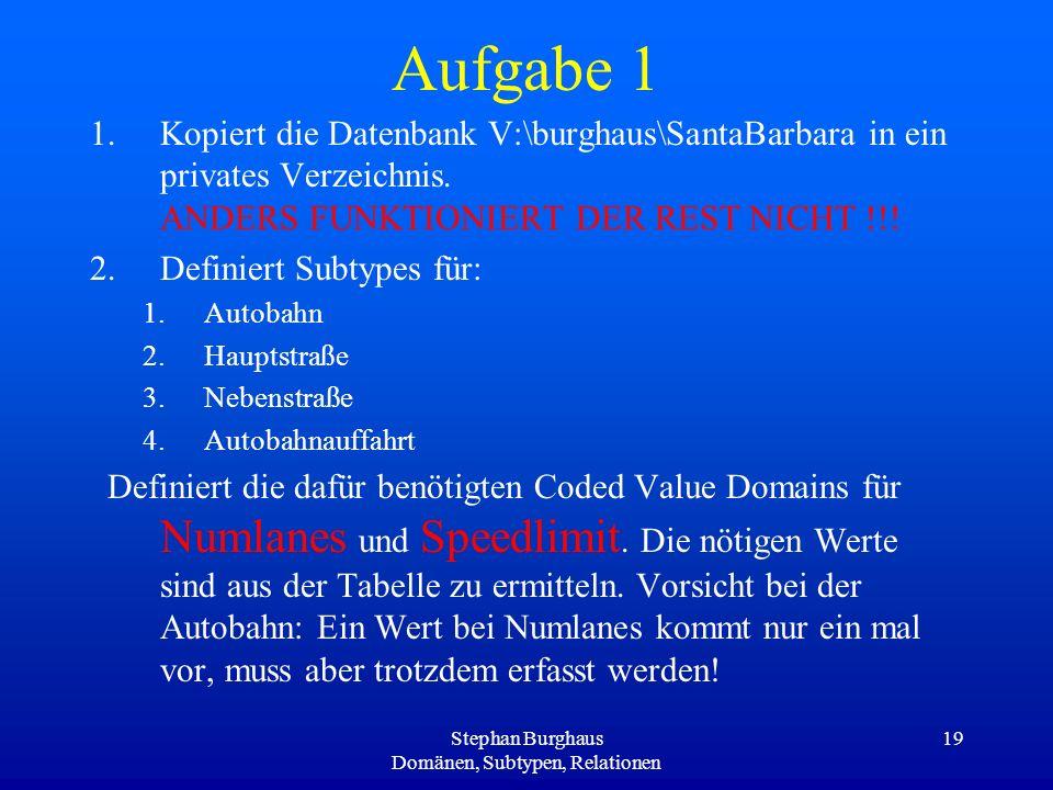 Stephan Burghaus Domänen, Subtypen, Relationen 19 Aufgabe 1 1.Kopiert die Datenbank V:\burghaus\SantaBarbara in ein privates Verzeichnis. ANDERS FUNKT