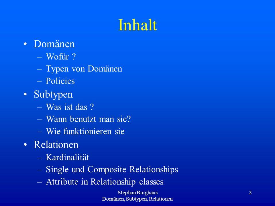 Stephan Burghaus Domänen, Subtypen, Relationen 13 Subtypes – Wofür.