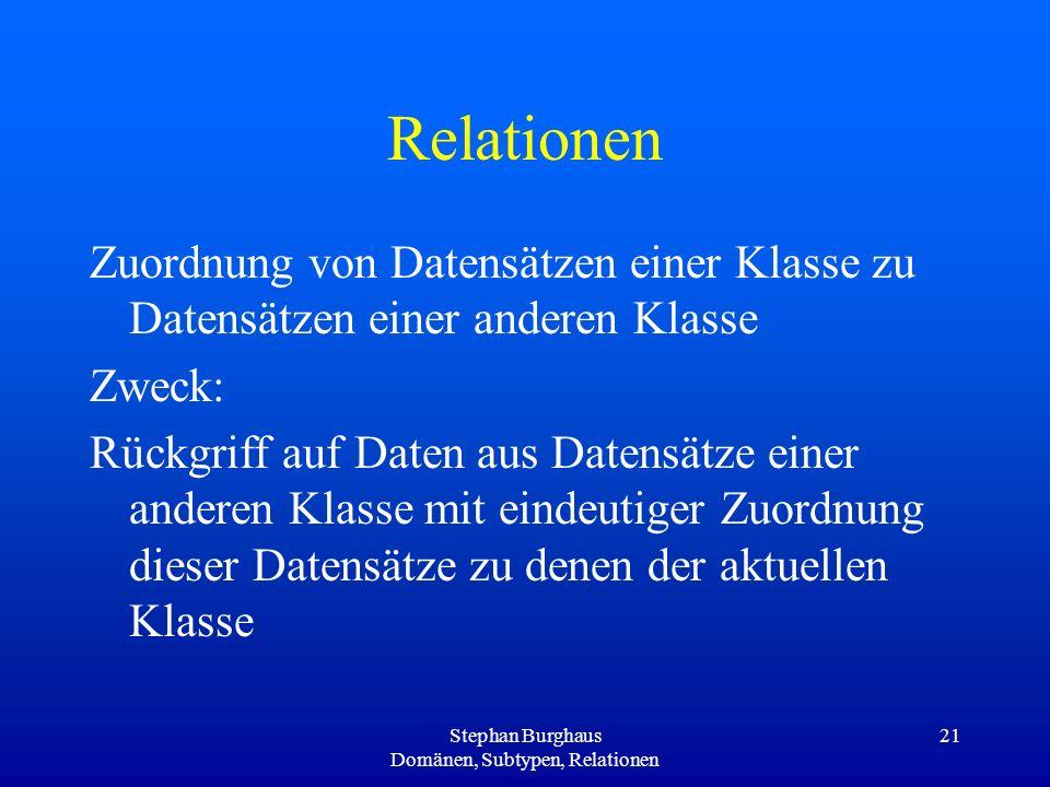Stephan Burghaus Domänen, Subtypen, Relationen 21 Relationen Zuordnung von Datensätzen einer Klasse zu Datensätzen einer anderen Klasse Zweck: Rückgri
