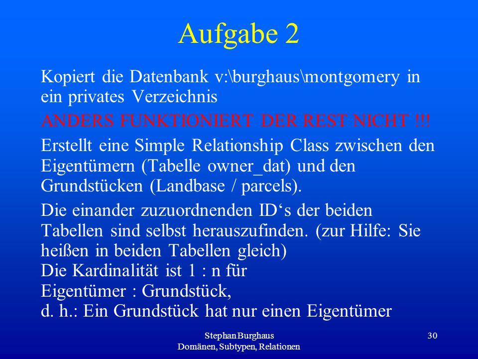 Stephan Burghaus Domänen, Subtypen, Relationen 30 Aufgabe 2 Kopiert die Datenbank v:\burghaus\montgomery in ein privates Verzeichnis ANDERS FUNKTIONIE