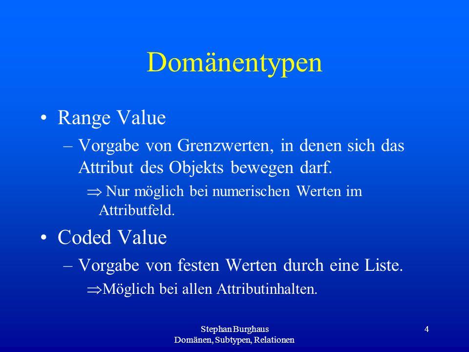 Stephan Burghaus Domänen, Subtypen, Relationen 4 Domänentypen Range Value –Vorgabe von Grenzwerten, in denen sich das Attribut des Objekts bewegen dar