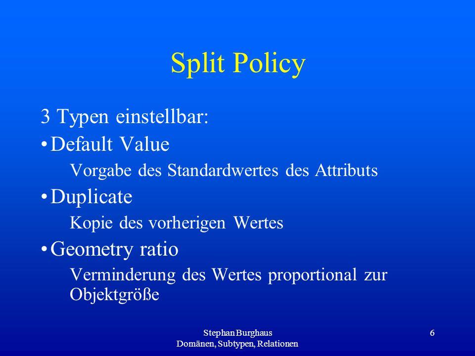 Stephan Burghaus Domänen, Subtypen, Relationen 6 Split Policy 3 Typen einstellbar: Default Value Vorgabe des Standardwertes des Attributs Duplicate Ko