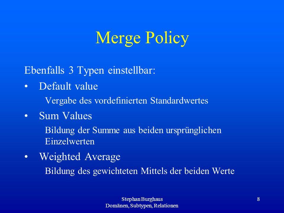 Stephan Burghaus Domänen, Subtypen, Relationen 8 Merge Policy Ebenfalls 3 Typen einstellbar: Default value Vergabe des vordefinierten Standardwertes S