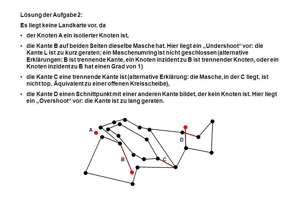 a)b)c)d) AAAA B B B B Lösung der Aufgabe 3: a) ist topologisch zusammenhängend, da die Kante, die zu der Menge (Rand) gehört, die Teilmengen A und B miteinander verbindet.