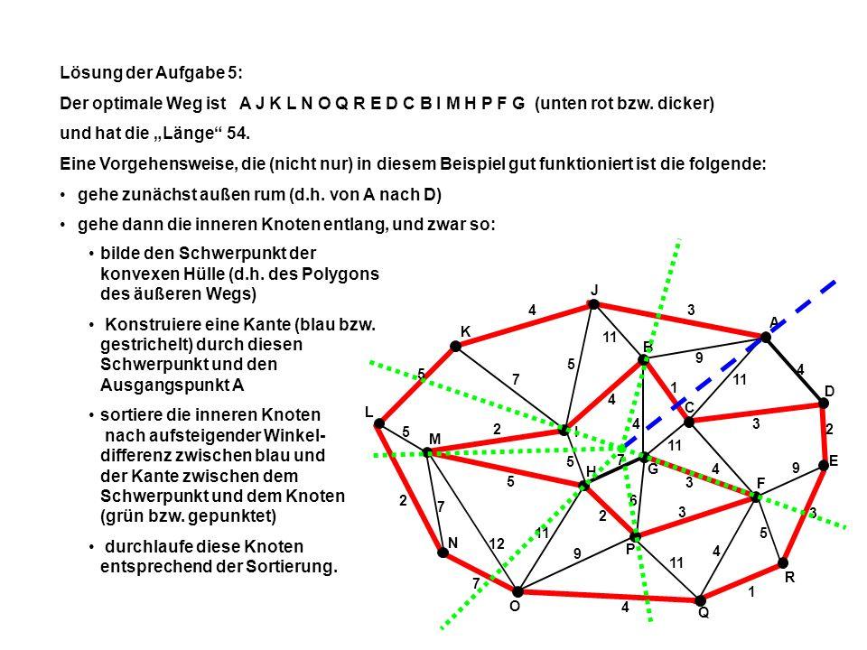 A E Q N L K J R I B C P M G O D F H 34 5 2 7 4 1 3 2 4 9 4 2 5 2 3 4 1 11 3 9 5 4 9 7 5 7 5 5 4 7 6 3 12 11 Lösung der Aufgabe 5: Alternativ ist der Weg ist A J K L N M I H P F G B C D E R Q O (unten rot bzw.