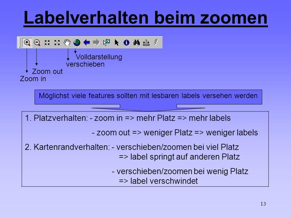 13 Zoom in Zoom out verschieben Volldarstellung Labelverhalten beim zoomen Möglichst viele features sollten mit lesbaren labels versehen werden 1.