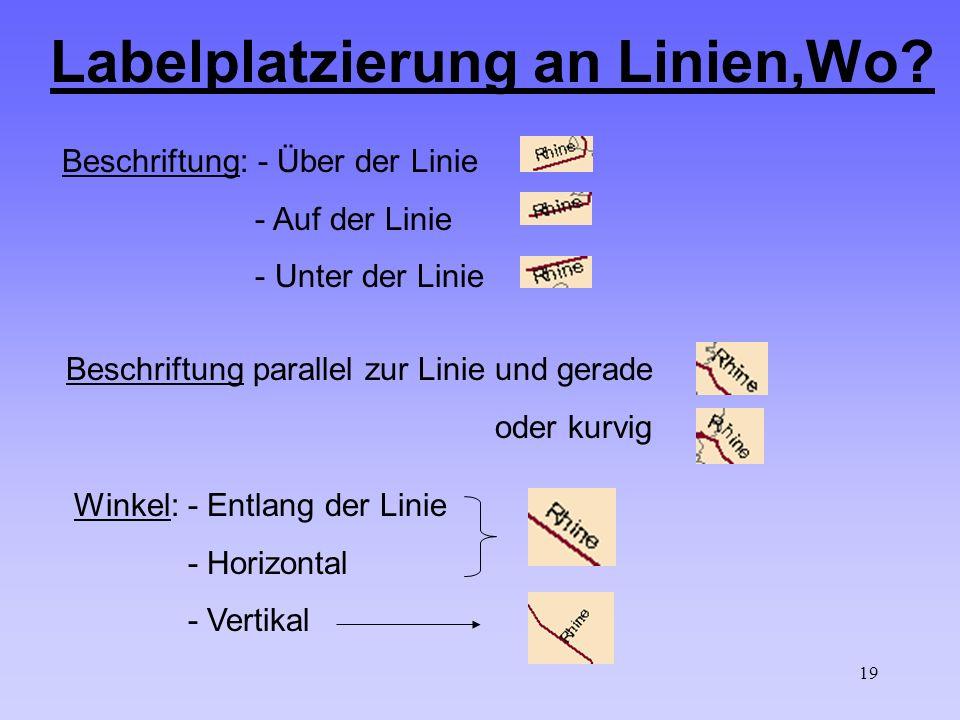 19 Labelplatzierung an Linien,Wo? Beschriftung: - Über der Linie - Auf der Linie - Unter der Linie Winkel: - Entlang der Linie - Horizontal - Vertikal