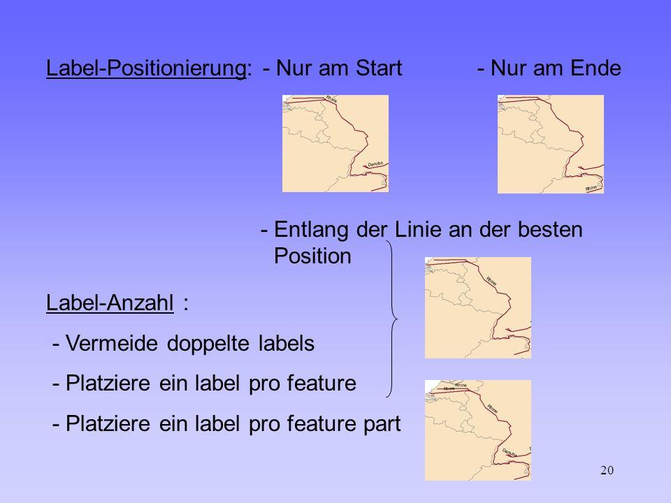 20 Label-Positionierung: - Nur am Start - Nur am Ende - Entlang der Linie an der besten Position Label-Anzahl : - Vermeide doppelte labels - Platziere ein label pro feature - Platziere ein label pro feature part