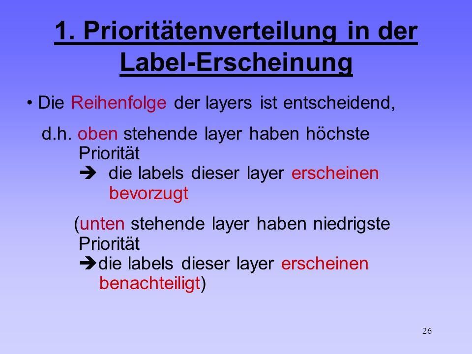 26 1. Prioritätenverteilung in der Label-Erscheinung Die Reihenfolge der layers ist entscheidend, d.h. oben stehende layer haben höchste Priorität die
